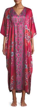 Natori Buddakan Floral-Print Charmeuse Caftan, Plus Size