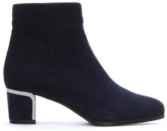 Daniel Enthusiasm Navy Suede Metal Trim Heeled Ankle Boot