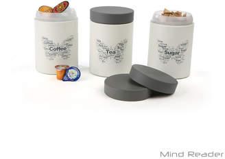 MINDREADER Mind Reader 3 Piece Sugar, Tea, Coffee Metal Canister Set - White