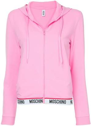 Moschino cropped zip front hoodie