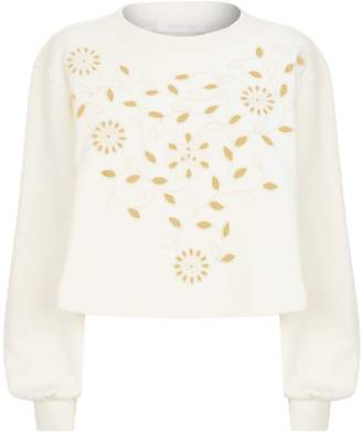 See by Chloe Floral Embroidered Cropped Sweater