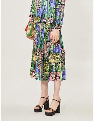 Gucci Feline Garden-print silk-satin midi skirt