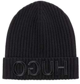 HUGO Boss Unisex beanie hat in wool reverse logo One Size Black