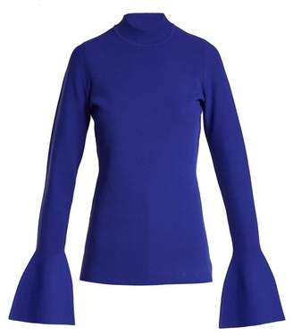 Diane von Furstenberg Bell Cuff Stretch Knit Top - Womens - Blue
