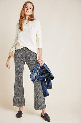 Anthropologie Essentials by The Essential Leopard Cropped Flare Trousers