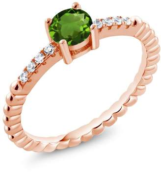 Swarovski Gem Stone King 0.58Ct Chrome Diopside White Zirconia 18K Rose Gold Plated Silver Ring