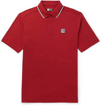 Ermenegildo Zegna Contrast-Tipped Logo-Appliqued TECHMERINO Wool-Pique Polo Shirt - Men - Red