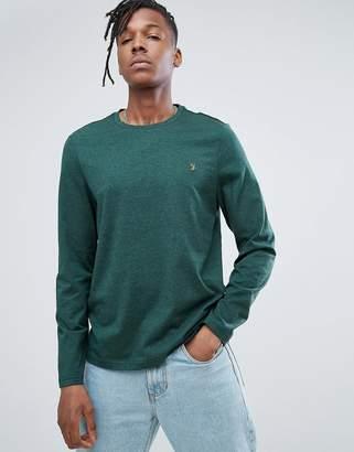 Farah Denny Slim Fit Long Sleeve Logo T-Shirt In Green Marl