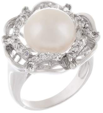Splendid Pearls 7.5-8mm Cultured Freshwater Pearl & CZ Accented Ring