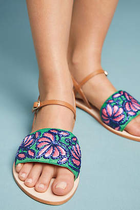 Anthropologie Bright Floral Sandals