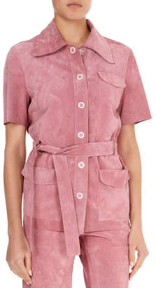 Victoria Beckham Suede Button-Front Belted Safari Top
