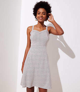 LOFT Petite Striped Strappy Flare Dress