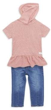 7 For All Mankind Little Girl's Hoodie Top & Jeans Two-Piece Set