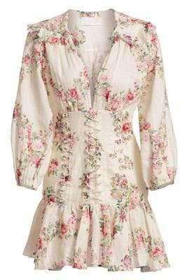 Zimmermann Honour Corset Long-Sleeve Floral Linen Dress