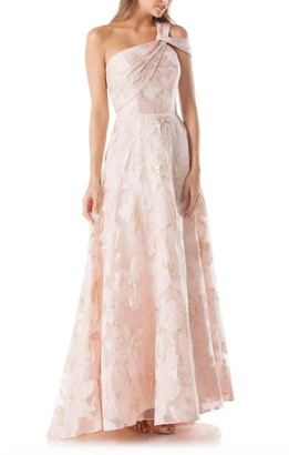Carmen Marc Valvo Floral One-Shoulder Ballgown