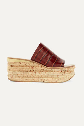 Chloé Camille Croc-effect Leather Wedge Sandals - Dark brown