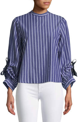 Brandon Thomas Bow-Sleeve High-Neck Blouse