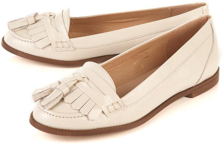 KACY Off White Fringed Loafers