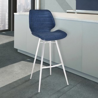 """Armen Living Valor 30"""" Bar Height Barstool in Brushed Stainless Steel with Dark Vintage Blue Faux Leather"""
