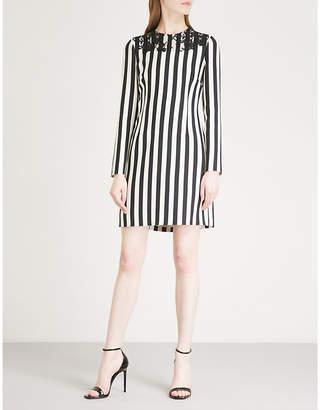 Valentino Lace-detail striped wool and silk-blend mini dress