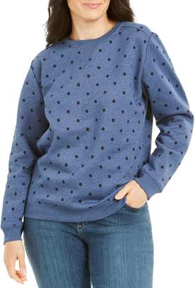 Karen Scott Petite Polka Dot Cotton-Blend Fleece Sweatshirt