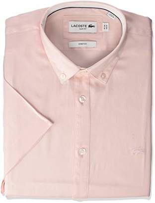 110c612c Lacoste Men's S/S Solid Stretch Pinpoint Collar Slim FIT Woven Shirt