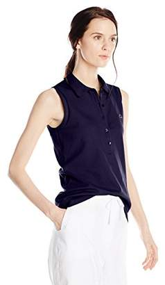 Lacoste Women's Sleeveless Stretch Pique Slim-Fit Polo Shirt
