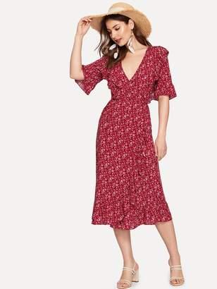 SheinShein Ruffle Wrap Neck Belted Waist Surplice Dress