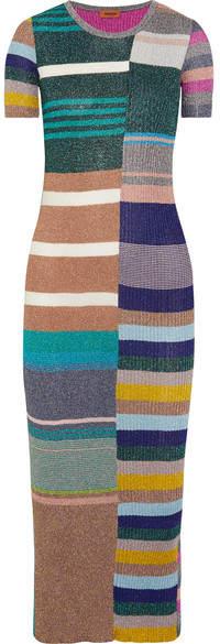 Missoni - Striped Metallic Ribbed-knit Midi Dress - Green
