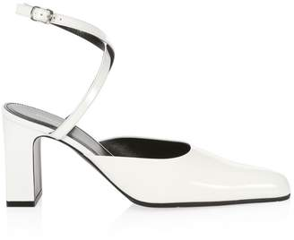 Balenciaga Patent Leather Point Toe Ankle-Strap Sandals