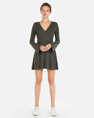 Express Petite Cozy Plush Jersey Fit And Flare Dress