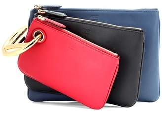 Fendi Triplette leather clutch
