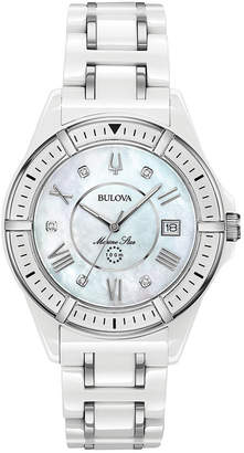 Bulova Women Marine Star Diamond-Accent White & Silver-Tone Ceramic Bracelet Watch 37mm