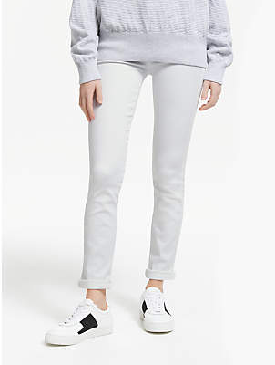7 For All Mankind Pyper Slim Illusion Cropped Jeans, Pure White