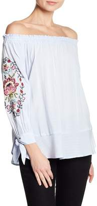 Democracy Embroidered Off-the-Shoulder Blouse