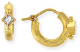 Elizabeth Locke 19K Baby Hammered Hoop Earrings with Princess-Cut Diamonds