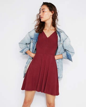 Express Double V Sleeveless Fit And Flare Dress