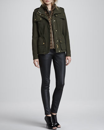 Burberry 3-in-1 Puffer Vest Jacket, Olive Brown