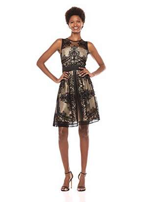 Gabby Skye Women's Sleeveless Floral Printed Fit Flare Dress