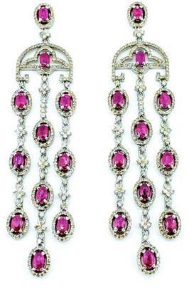 Arthur Marder Fine Jewelry 14K & Silver 11.18 Ct. Tw. Diamond & Ruby Earrings