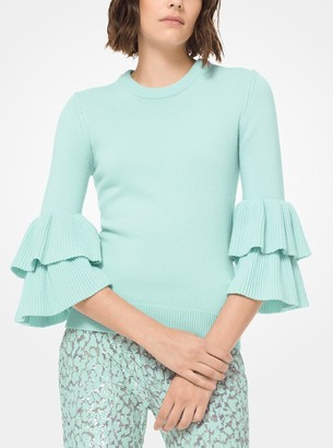 Michael Kors Ruffle-Cuff Cashmere Pullover