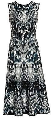 Alexander McQueen Women's Crystal Jacquard Midi Dress