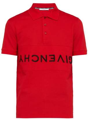 Givenchy Logo Embroidered Cotton Pique Polo Shirt - Mens - Red