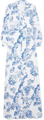 Oscar de la Renta Floral-print Silk-crepe Gown - Blue