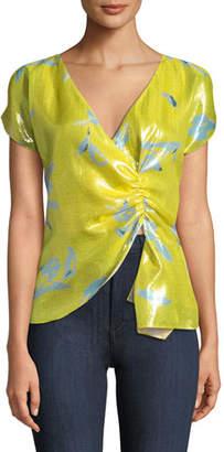 Tanya Taylor Bella Gathered Metallic Floral Top