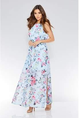 Quiz Blue Floral Print Chiffon High Neck Sleeveless Maxi Dress