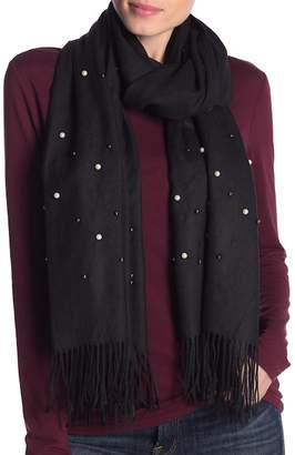 Collection XIIX Faux Pearl & Fringe Scarf