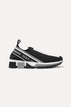 Dolce & Gabbana Sorrento Logo-print Mesh Sneakers - Black