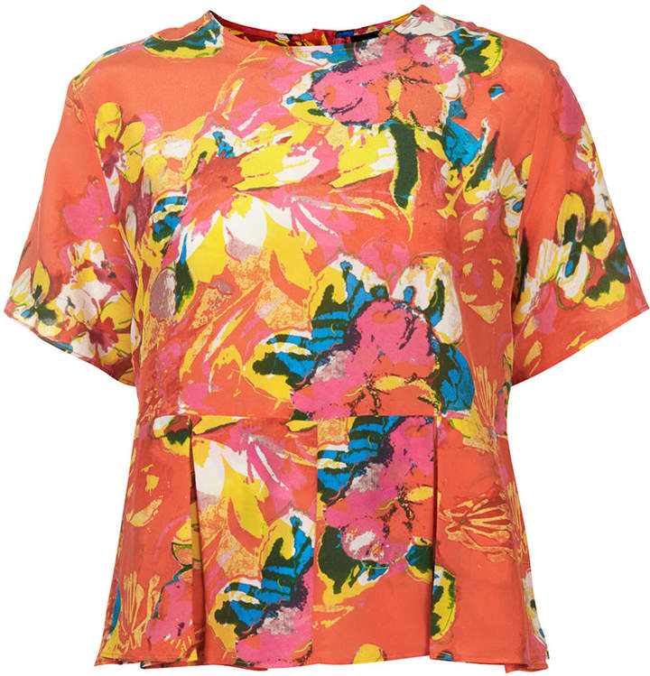 Boutique Silk tropical print pleated top