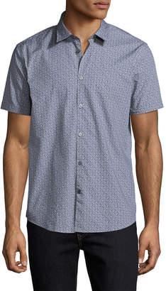 John Varvatos Printed Spread Collar Sportshirt